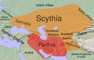 Sarmatia and Scythia in 100 BC, also shown is the extent of the Parthian Empire.