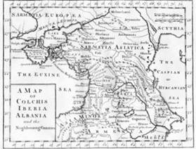"""Sarmatia Europæa"" separated from ""Sarmatia Asiatica"" by the Tanais (the River Don), based on Greek literary sources, in a map printed in London, ca 1770."