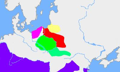 Areas in the first half of the 3rd century: Wielbark culture (red) , Przeworsk culture (green), a Baltic culture (Aesti?, yellow), Dębczyn Culture (pink) and the Roman Empire (dark blue)